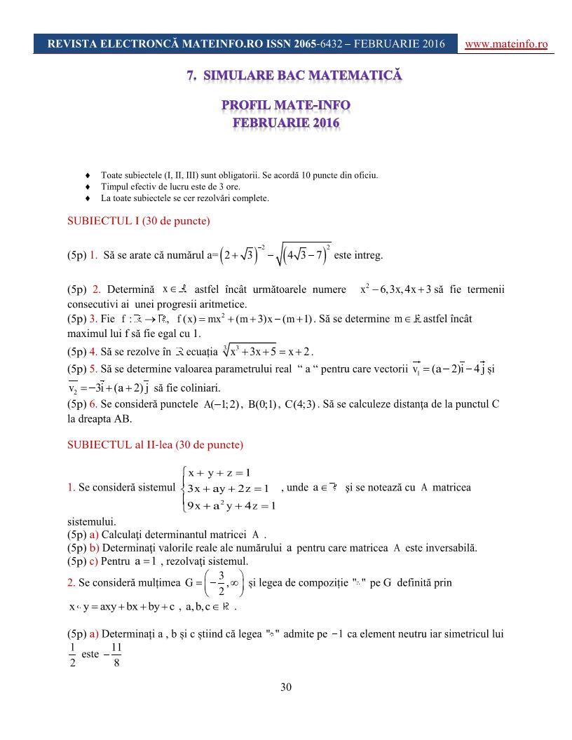 simulare bac matematic u0103 mate-info